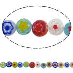 Chevron Glasperlen, flache Runde, handgemacht, gemischte Farben, 8x4mm, Bohrung:ca. 1mm, Länge:ca. 15 ZollInch, 10SträngeStrang/Menge, verkauft von Menge