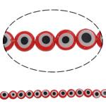 Beads Lampwork keqe Syri, Round Flat, punuar me dorë, asnjë, asnjë, 8x3mm, : 1mm, :14.5Inç, 10Fillesat/Shumë, u5927u7ea648pcs/strands,  Shumë