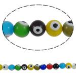 Beads Lampwork keqe Syri, Round, punuar me dorë, asnjë, ngjyra të përziera, 12mm, : 1.5mm, :15.7Inç, 36PC/Fije floku,  15.7Inç,