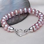 Kulturuar ujërave të ëmbla Pearl byzylyk, Pearl kulturuar ujërave të ëmbla, Shape Tjera, natyror, vjollcë, 9-10mm, :18cm,  18cm,