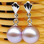 Një palë vathë Pearl ujërave të ëmbla, Pearl kulturuar ujërave të ëmbla, with 925 Sterling Silver, Round, natyror, vjollcë, 8-9mm,  Palë