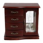 Bizhuteri Wood Set Box, Dru, with Velveteen & Xham & Alloy zink, Drejtkëndësh, ngjyrë bakri të praruar antike, asnjë, verë e kuqe ngjyra, 22x11.5x21cm,  PC