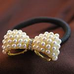 Bisht mbajtës, Glass Pearl, with Cord najlon & Alloy zink, Bowknot, ngjyrë ari praruar, me diamant i rremë, asnjë, 37x17mm, 30PC/Shumë,  Shumë