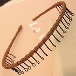 Hair Bands, Hekur, with Saten, Shape Tjera, pikturë, asnjë, ngjyrë kafe, , nikel çojë \x26amp; kadmium falas, 13mm, 30PC/Shumë,  Shumë