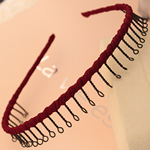 Hair Bands, Hekur, with Saten, Shape Tjera, pikturë, asnjë, verë e kuqe ngjyra, , nikel çojë \x26amp; kadmium falas, 13mm, 30PC/Shumë,  Shumë