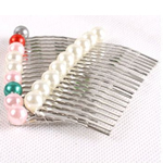 Decorative Hair Combs, platinum color zinc alloy & glass pearl, mixed colors, 65x38mm, Approx 100PCs/Lot, Sold by Lot