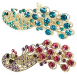 Hair Barrettes, zinc alloy with rhinestone, peacock shape, more colors for choice, 68x30mm, Sold by PC