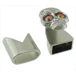 Alloy zink Cord lëkure kapje, Shape Tjera, ngjyrë platin praruar, me diamant i rremë, asnjë, , nikel çojë \x26amp; kadmium falas, 17x13mm, 13x13mm, : 10x5mm, 50I vendosur/Shumë,  Shumë
