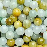 Beads Jadite, Round, natyror, qetë, Një, 9-10mm, : 1-2mm, 5PC/Qese,  Qese