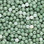 Beads Jadite, Round, natyror, qetë, 5mm, : 1-2mm, 100PC/Qese,  Qese