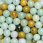 Beads Jadite, Round, natyror, qetë, 9-10mm, : 1-2mm, 20PC/Qese,  Qese