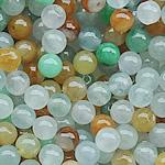 Beads Jadite, Round, natyror, qetë, Një, 5mm, : 1-2mm, 10PC/Qese,  Qese