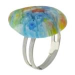 Ring Finger lampwork, with Hekur, Lot, ngjyrë platin praruar, me fetë Millefiori, asnjë, 17x23mm, :6, 100PC/Shumë,  Shumë