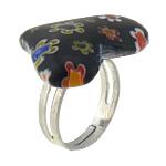 Ring Finger lampwork, with Hekur, Zemër, ngjyrë platin praruar, me fetë Millefiori, asnjë, 26x22mm, :6, 50PC/Shumë,  Shumë