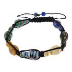 Lampwork Shamballa Bracelets, with Cord najlon, Shape Tjera, asnjë, me fetë Millefiori, e zezë, 10x19mm, 6mm, :8-13Inç, 30Fillesat/Shumë,  Shumë