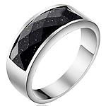 Çeliku Stainless Ring Finger, 316L Stainless Steel, with Goldstone, Shape Tjera, asnjë, për njeriun, ngjyra origjinale, 8mm, :5.5, 2PC/Shumë,  Shumë