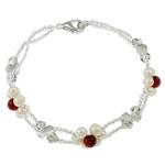 Pearl kulturuar ujërave të ëmbla, with Gërdallë & Kristal & Seed Glass Beads, Shape Tjera, natyror, e bardhë, 4-5mm, : 6.5Inç, 10Fillesat/Qese,  Qese