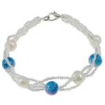 Pearl kulturuar ujërave të ëmbla, with Gërdallë & Seed Glass Beads, Shape Tjera, natyror, e bardhë, 7-8mm, :7Inç, 10Fillesat/Qese,  Qese