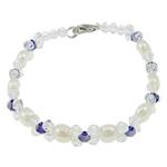 Pearl kulturuar ujërave të ëmbla, with Kristal, Shape Tjera, natyror, e bardhë, 7-8mm, :7Inç, 10Fillesat/Qese,  Qese