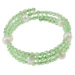 Bracelets Crystal, Kristal, with Pearl kulturuar ujërave të ëmbla & Hekur, Shape Tjera, natyror, 3-fije floku, Peridot, 8-9mm, : 53mm, : 7.5Inç, 10Fillesat/Qese,  Qese
