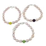 Kulturuar ujërave të ëmbla Pearl byzylyk, Pearl kulturuar ujërave të ëmbla, with diamant i rremë Shtrim bead, Shape Tjera, natyror, ngjyra të përziera, 7-8mm, 8mm, :6Inç, 10Fillesat/Qese,  Qese