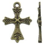 Alloy zink Pendants Kryqi, Ngjyra antike bronz i praruar, asnjë, asnjë, , nikel çojë \x26amp; kadmium falas, 15x21x2mm, : 1.5mm, 2000PC/KG,  KG
