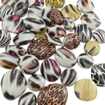 Beads akrilik të përziera, Shape përziera, asnjë, i përzier, ngjyra të përziera, 16-30mm, : 1.5-2.5mm, 160PC/Qese,  Qese