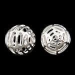 Beads Hollow tunxh, Round, Ngjyra argjend praruar, i uritur, asnjë, , nikel çojë \x26amp; kadmium falas, 12mm, : 1mm, 50PC/Qese,  Qese