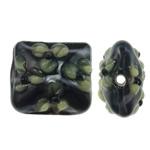 Beads Lampwork me gunga, Drejtkëndësh, punuar me dorë, asnjë, 16.50x16x10.50mm, : 2mm, 100PC/Qese,  Qese