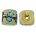 Beads dorë Lampwork, Kub, punuar me dorë, asnjë, asnjë, 13mm, : 2.5mm, 100PC/Qese,  Qese