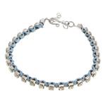 Tunxh, with Cord najlon, Shape Tjera, ngjyrë platin praruar, me diamant i rremë, dritë blu, , nikel çojë \x26amp; kadmium falas, 3mm, : 6Inç, 20Fillesat/Shumë,  Shumë