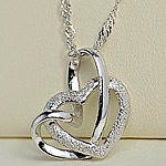 925 Sterling Silver, Zemër, Platinum kromuar, asnjë, asnjë, 17x16mm, : 15.7Inç,  15.7Inç,