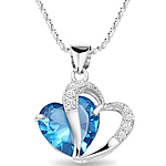 925 Sterling Silver, Zemër, Platinum kromuar, me zirconia kub, blu, 20x25mm, : 17.7Inç,  17.7Inç,