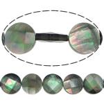Beads Zi Shell, Black Shell, Monedhë, asnjë, faceted, asnjë, 12x4mm, : 1mm, :16Inç, 5Fillesat/Shumë, 33Pcs/Strand,  Shumë