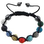 Diamant i rremë Shamballa Bracelets, diamant i rremë Shtrim bead, with Cord najlon & Jo-magnetike kuqe e mbylltë, Shape Tjera, asnjë, asnjë, multi-colored, 10mm, 8mm, :7-11Inç, 10Fillesat/Shumë,  Shumë