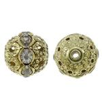 Beads bizhuteri bronzi, Tunxh, Round, Ngjyra antike bronz i praruar, me diamant i rremë & i uritur, asnjë, , nikel çojë \x26amp; kadmium falas, 12mm, : 1.5mm, 10PC/Qese,  Qese