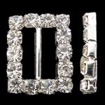 Diamant i rremë shtrëngoj, Tunxh, Drejtkëndësh, Ngjyra argjend praruar, me diamant i rremë, asnjë, , nikel çojë \x26amp; kadmium falas, 12.50x16x2.50mm, : 10x2mm, 10PC/Qese,  Qese