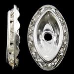 Beads Spacer tunxh, Syri kali, Ngjyra argjend praruar, me diamant i rremë, asnjë, , nikel çojë \x26amp; kadmium falas, 12x20x3.50mm, : 2mm, 100PC/Qese,  Qese