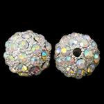 Alloy zink Beads diamant i rremë, Round, Ngjyra argjend praruar, me diamant i rremë, asnjë, , nikel çojë \x26amp; kadmium falas, 16mm, : 3mm, 10PC/Qese,  Qese