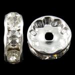 Beads Spacer tunxh, Round, Ngjyra argjend praruar, me diamant i rremë, asnjë, , nikel çojë \x26amp; kadmium falas, 12x4mm, : 2mm, 100PC/Qese,  Qese