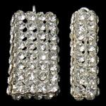 Tunxh, Drejtkëndësh, Ngjyra argjend praruar, me diamant i rremë & i uritur, asnjë, , nikel çojë \x26amp; kadmium falas, 13x26x8mm, : 2mm, 10PC/Qese,  Qese