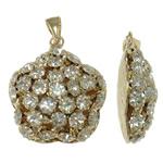 Tunxh, Yll, ngjyrë ari praruar, me diamant i rremë & i uritur, asnjë, , nikel çojë \x26amp; kadmium falas, 25x28.50x10.50mm, : 3.5x6mm, 2PC/Qese,  Qese