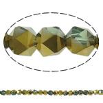 Klasse AA Kristallperlen, Kristall, Vieleck, halb plattiert, facettierte, 6mm, Bohrung:ca. 1.5mm, ca. 100PCs/Strang, verkauft per ca. 23.5 ZollInch Strang