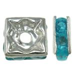 Tunxh, Katror, Ngjyra argjend praruar, me diamant i rremë, asnjë, , nikel çojë \x26amp; kadmium falas, 6x3mm, : 1mm, 100PC/Qese,  Qese