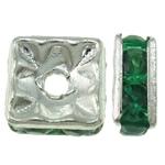 Beads Spacer tunxh, Katror, Ngjyra argjend praruar, me diamant i rremë, asnjë, , nikel çojë \x26amp; kadmium falas, 6x3mm, : 1mm, 100PC/Qese,  Qese