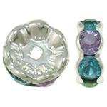 Beads Spacer tunxh, Round, Ngjyra argjend praruar, me diamant i rremë, asnjë, , nikel çojë \x26amp; kadmium falas, 23x9.5mm, : 4mm, 10PC/Qese,  Qese