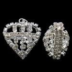 Tunxh, Zemër, Ngjyra argjend praruar, me diamant i rremë & i uritur, asnjë, , nikel çojë \x26amp; kadmium falas, 25x27x18mm, : 3x6mm, 2PC/Qese,  Qese