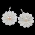 Pearl kulturuar ujërave të ëmbla, with White Shell & Tunxh, Lule, natyror, asnjë, 52x39x6mm, : 3.4x4.5mm, 10PC/Qese,  Qese