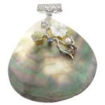 Pendants Natyrore Zi Shell, Black Shell, with White Shell & Pearl kulturuar ujërave të ëmbla & Tunxh, Lot, ngjyrë platin praruar, me diamant i rremë, asnjë, 74x84x9mm, : 6x8mm, 10PC/Shumë,  Shumë