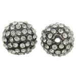 Alloy zink Beads diamant i rremë, Round, plumbit ngjyrë të zezë praruar, me diamant i rremë, asnjë, , nikel çojë \x26amp; kadmium falas, 14mm, : 2mm, 10PC/Qese,  Qese